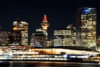 Christmas night scene of downtown Vancouver, Canada