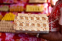 Indian sweets in a market in Nepal during the festival of Diwali.