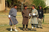 Asia, Bhutan, Thimphu. Archery is the national sport of Bhutan.