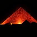 The Pyramid of Cheops illuminated at night