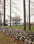 Stone Fence Bordering Lawn of Greek Revival House
