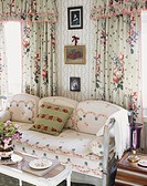 Floral Patterns on Sofa and Drapery