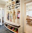 Built_in coat and shoe rack in foyer