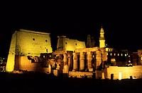 Temple of Luxor illuminated at Night, Luxor, Egypt