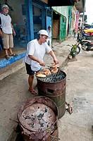 Iquitos, Peru. Street food vendor in the Barrio of Belen