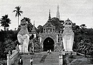 Entrance to the Pagoda in Rangoon with its fabulous animals  In Mandalay, the last capital of the kings of Burma, Travel of Dr  Kurt Boeck, 1903  Burm...