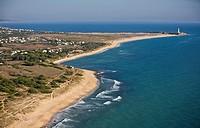 Zahora beach Caños de Meca with Trafalgar´s lighthouse, aerial view Cadiz area Spain On the horizon line are the mountains fo Marroco.
