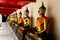 Lined up statues at Wat Pho temple, Bangkok