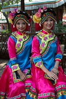 China , Shenzhen City, Splendid China Park, girls in traditional costume