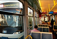passing trams seen from inside of one of them, Zurich, Switzerland, Europe