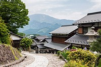 Magome, traditional Japanese village, embeded into surrounding forested hills of Nakasugawa