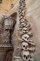 The bizarre Bone Church at Kutna Hora, near Prague, Czech Republic, where everything is made out of human bones