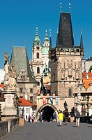 view on the Charles Bridge in Prague, Czech Republic