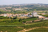 View of Obidos from the city wall, Castelo de Obidos, Obidos Castle, Obidos, Leiria District, Pinhal Litoral, Portugal.
