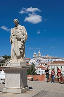 Statue of Sao Vincent, Terrace Portas do Sol, Gates to the Sun, Largo das Portas do Sol, overlooking the Alfama rooftops with The Church, Monastery of...