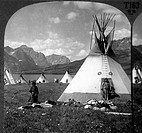 Blackfoot Indian Village Near St. Mary's Lake, Montana, USA, Circa 1900