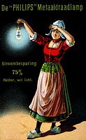 Woman Holding Illuminated Light Bulb, Dutch Ad for Philips Electric Lights, Trade Card, Circa 1925