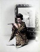 Japanese Female Flute Player, Hand Colored Albumen Photograph, Circa 1860