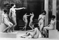 Seven Nude Women Standing in Classical Poses, Circa 1925