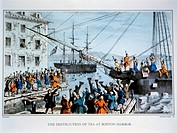 Boston Tea Party, 1773, Nathaniel Currier, Lithograph, Circa 1846
