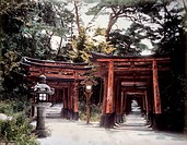 Buddhist Archway, Inari Shrine, Kyoto, Japan, Circa 1880