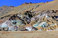 Rock colours caused by the oxidation of different metals, Artists Palette at dusk, Death Valley National Park, California, USA, North America