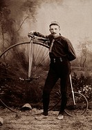 Man with High Wheel Bicycle, Albumen Photograph, Circa 1898