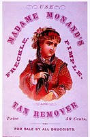 Woman Portrait, Madame Morand´s Freckle, Pimple and Tan Remover, Trade Card, 1865