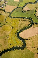 Aerial view, Lippe river, meander, meadows, fields, Bergkamen, Ruhr area, North Rhine_Westphalia, Germany, Europe