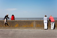People on Burnham on Sea promenade