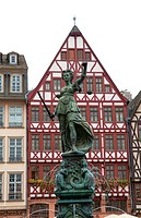 Famous colorful architecture statue and gables of Romerberg Old Town Frankfurt Germany