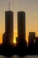 World Trade towers at sunrise, New York City, NY