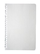 Torn checked notepad page isolated on white background.