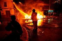 Firemen extinguishing Fallas´ fire, Valencia