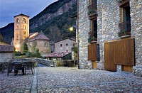 At left Romanesque church of Sant Cristòfol s  XII, Beget  Garrotxa, Girona, Catalonia, Spain