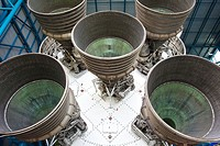 Saturn V rocket engines at the Kennedy Space Center in Florida