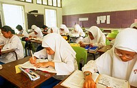 Malaysia Kuala Lumpur education Muslim school grade 10 in study classroom