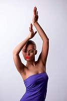 sexy woman in dance with glow make_up