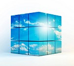 cubes with a cloudy sky