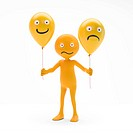 Character smiley holding balloons