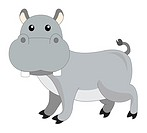Cute grey hippopotamus, vector illustration