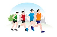 Running, 4 male runners, vector illustration