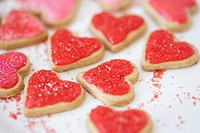Heart cookies with sprinkles