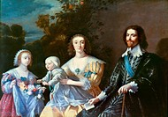 1st Duke of Buckingham. English courtier and politician. The Duke of Buckingham and his family. Oil on canvas, 17th century, after a painting, 1628, b...