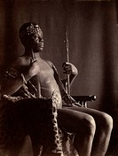 Portrait of a young man in costume as an African chief. Photograph by F. Holland Day, c1896.