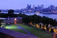 Canada, Montreal, Quebec, boats, buildings, cityscape, courtyard, grass, horizontal, lights, sidewalk, skyline, skyscrapers, water