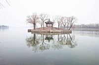 Island and Misty Lake at Summer Palace in Beijing