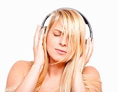 attractive, audio, beautiful, blond, Caucasian, cheerful, cute, earphones, enjoy, entertainment, female, fun, girl, happy, headphones, isolated, leisu...