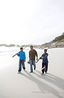 Man and two boys with fishing rods