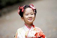 Girl smiling in traditional dress,close up,portrai